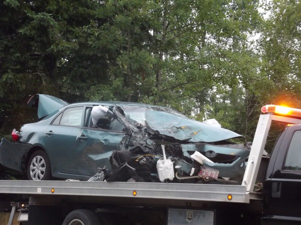Joan Smith of Cherryfield was behind the wheel of this sedan when it crossed the centerline and struck a pickup truck on Route 1 west of Pembroke on Tuesday morning, July 24, 2012.