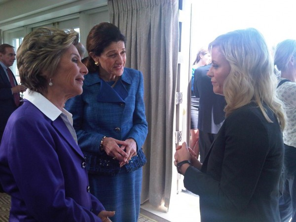 Sen. Olympia Snowe, R-Maine, speaks with Sen. Barbara Boxer, D-Calif., and &quotParks and Recreation&quot star Amy Poehler after shooting a scene for the NBC comedy on Thursday, July 19, 2012.