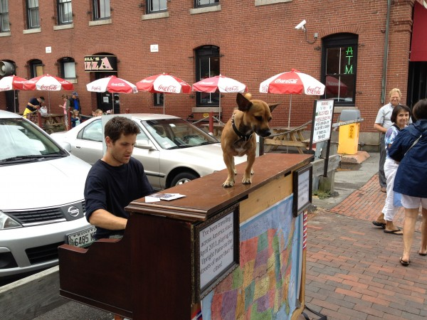 Traveling pianist Dotan Negrin and his dog Brando perform on Commercial Street in Portland on Friday, July 27, 2012.
