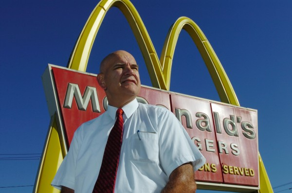 McDonald's franchise owner Gary Eckmann, seen here in August 2007, says he put a searchlight up to draw attention to his restaurant and call attention to the new 24-hour drive-thru on Main Street in Bangor. The light has since been moved to the Wilson Street McDonald's in Brewer.