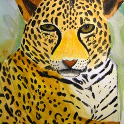 """""""Leopard"""" by Reggie Kollman age 14 of Bangor Student of Valerie Wallace.  Please call 866-4338 for information about  Lessons and Summer art Camps."""
