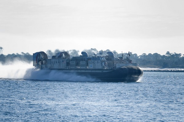 Landing Craft Air Cushion (LCAC) 91 is underway during a Navy alternative fuel demonstration. The craft ran on a 50/50 mix of alternative fuel and F-76 diesel and is the Navy's fastest craft to date that has run on alternative fuel.