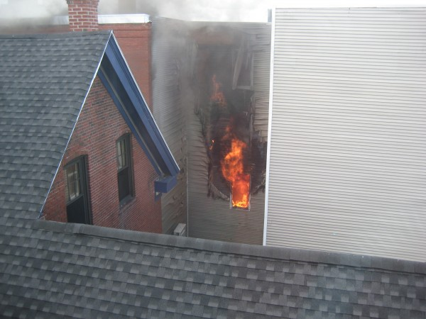 A fire on Congress Street in Portland was started by children who were trying to light sparklers with a toaster Monday morning, July 2, 2012.