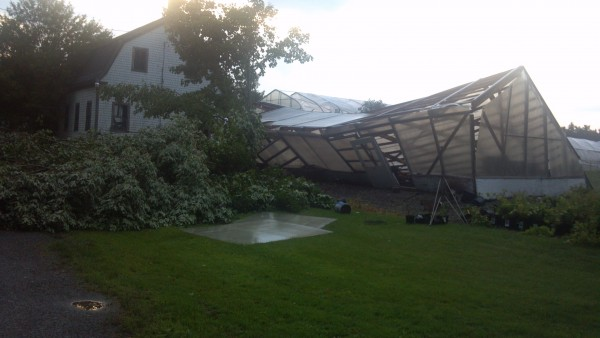 A greenhouse in Hudson that was destroyed in Saturday afternoon's storm.