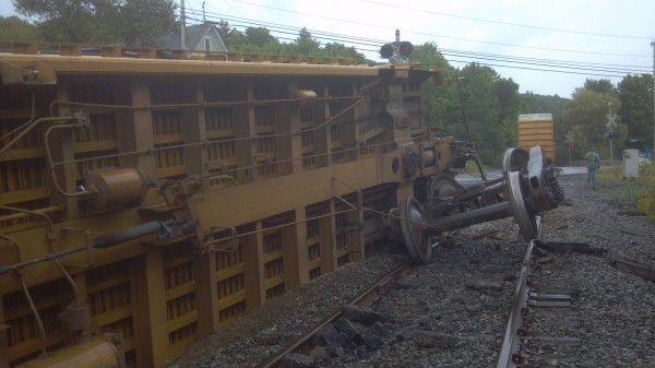 A train heading away from the Verso Paper mill in Bucksport overturned Sunday.