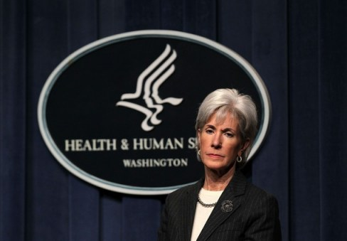 U.S. Secretary of Health and Human Services Kathleen Sebelius listens during a news conference announcing that health care organizations from across the country will participate in a new Accountable Care Organization (ACOs) initiative.