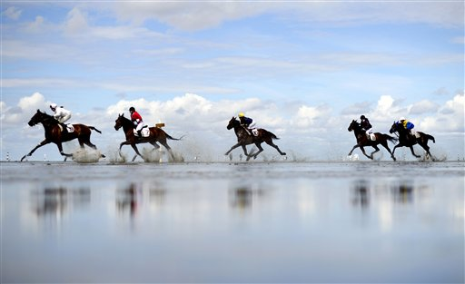 Participants in the Duhnen tideland event race their horses through the mud in Duhnen, near Cuxhaven, northern Germany on Sunday, July 15, 2012.