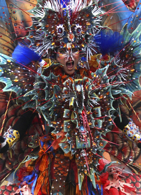 A model performs during Jember Fashion Carnival, an annual event to showcase creations by local fashion designers, in Jember, East Java, Indonesia on Sunday, July 8, 2012.