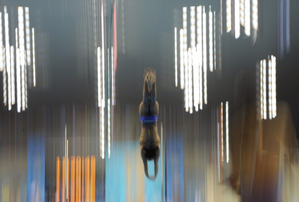 A competitor dives during a practice session at the Aquatics Centre in the Olympic Park ahead of the 2012 Summer Olympics in London on Friday, July 27, 2012.