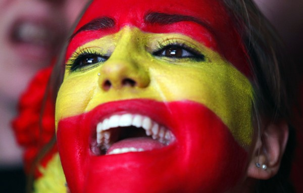 A Spanish fan reacts during the viewing of Euro 2012 soccer championship final match between Spain and Italy at the Fan Zone in Madrid, Spain on Sunday, July 1, 2012.