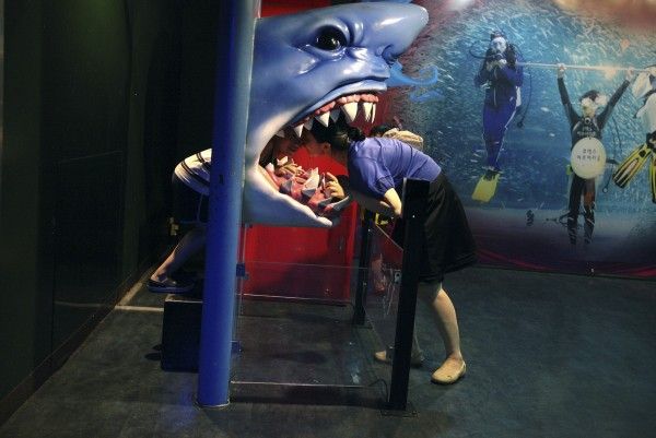 A woman leans into the mouth of a plastic shark to kiss her child at the COEX Aquarium in Seoul, South Korea on Tuesday, July 24, 2012.