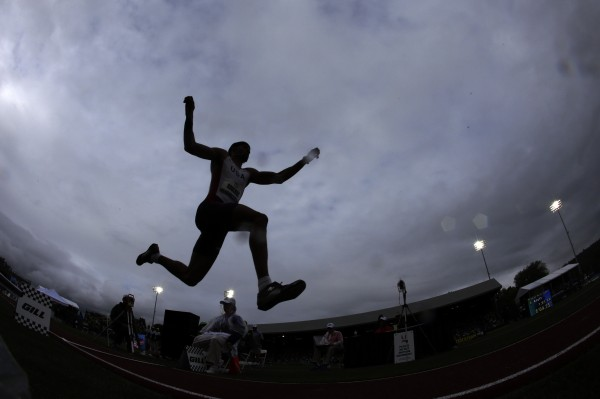 Brandon Roulhac competes in the men's triple jump final at the U.S. Olympic Track and Field Trials on Saturday, June 30, 2012, in Eugene, Ore.