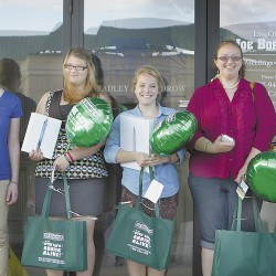 Five of the 20 statewide winners show off their prizes following a ceremony Wednesday, June 27 at the Law Offices of Joe Bornstein in Bangor. From left: Allie Rowe, Victoria Webber, Casie Frederick, Jazmin Knapp, and Whitney Sargent. Not pictured are two first-place winners: Zach Martin and Bronwynn Eaton.