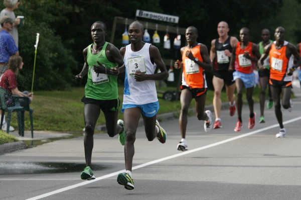 Lucas Rotich (7) and Micah Kogo (3), both from Kenya, take the lead Saturday during the 14th annual TD Bank Beach To Beacon 10K road race last August in Cape Elizabeth. Kogo went on to win and Rotich finished in second place. Kogo won't defend his title in this year's race as he is competing in the London Olympics, but Rotich will compete in the Maine race.