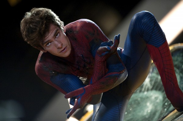 Andrew Garfield is shown in a scene from &quotThe Amazing Spider-Man.