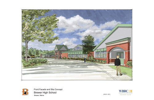 Brewer High School front facade and site concept