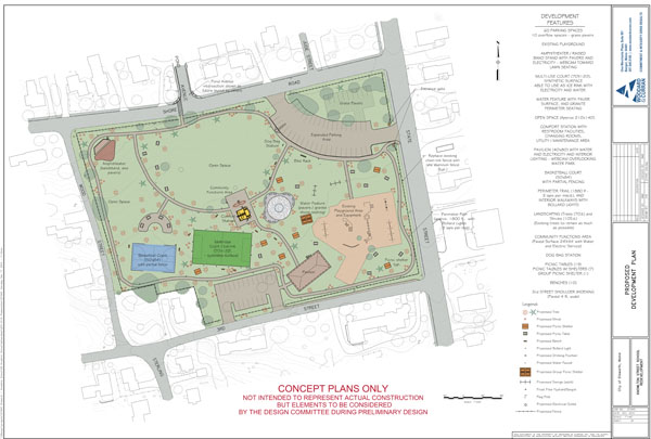 This concept plan for Knowlton Park, drawn in Dec. 2010, shows preliminary features for the planned park on State Street in Ellsworth. Note that plans for a basketball court have since been abandoned in favor of more open space.