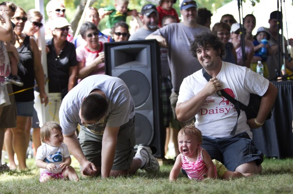 Not every baby felt like leaving the starting line during the Diaper Derby on Sunday at the Yarmouth Clam Festival.