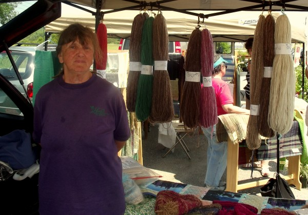 Donna Pickard is a regular vendor at the farmers market in Machias where she sells wool that she harvests and dyes as well as her own knitware creations. Pickard also raises sheep on her Fairpoint Farm in Steuben.