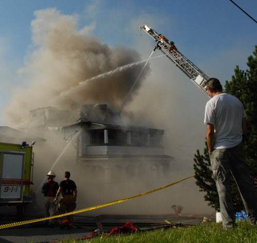 Firefighters from Madawaska and Edmundston, New Brunswick, battled a blaze in Madawaska that destroyed an apartment building and left seven people homeless. The firefighters were able to save the neighboring building which was only four feet away.