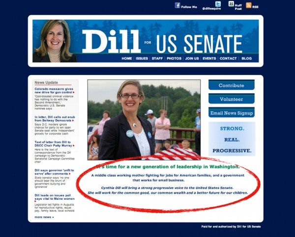 Cynthia Dill's website homepage after the statement about job creation was removed on July 23.