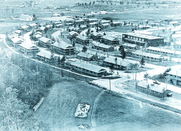 During World War II, Dow Field in Bangor was a busy place. Hammond Street crosses from left to right in the upper part of the photo and intersects Odlin Road in the upper center. The Maine Central Railroad built a spur to serve Dow, which later became Dow Air Force Base and ultimately Bangor International Airport.