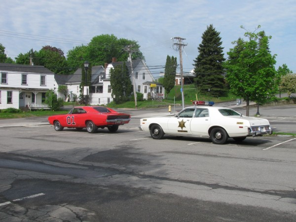 "A real 1978 cop car, decked out to look like the one used by Sheriff Rosco P. Coltrane on the TV show ""The Dukes of Hazzard,"" was stopped last week for having illegally attached lights and sirens. The owner, a Bradley man, also owns a replica of the General Lee, a Dodge Charger that is probably one of the most recognizable TV cars with its bright orange paint and Confederate flag roof, and he displays both at car shows he attends."