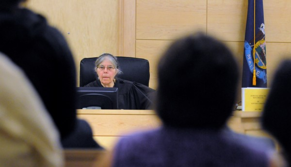 District Court Judge Jessie Gunther hears cases in the courtroom at the Penobscot Judical Center in Bangor. Gunther was the youngest person ever appointed — at age 28 — and she is the longest-serving female judge in the state. She retired at the end of June after nearly 32 years on the bench.