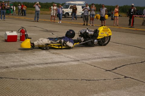 Richard Morrison of Deerfield, N.J., begins his record-setting run of 165 mph. This street luge is powered by a Harley Davidson motorcycle engine.