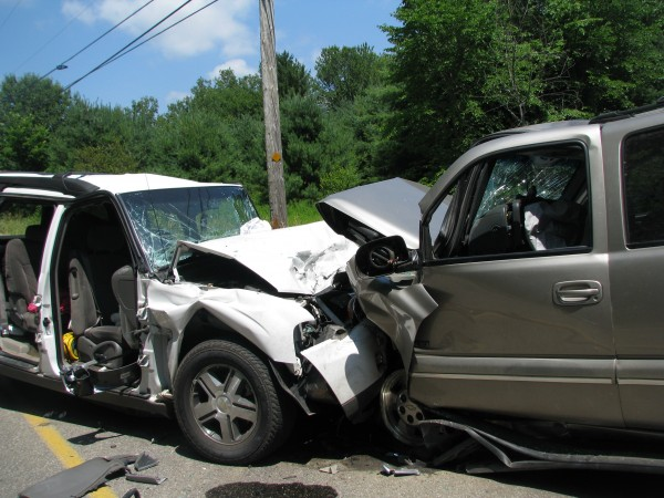 Six people were sent to the hospital after two SUVs collided in Lyman on Monday.