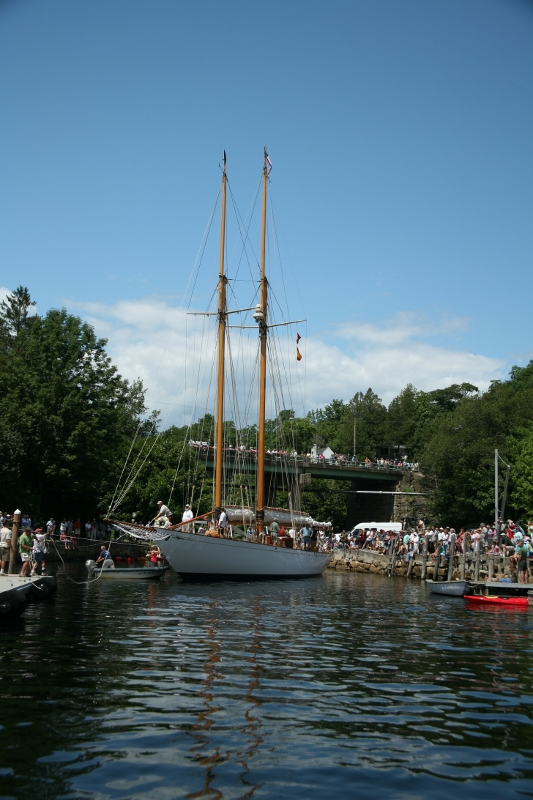 The Adventuress was relaunched at Marine Park on Saturday afternoon after three years spent restoring the schooner, which was built in Scotland in 1924.