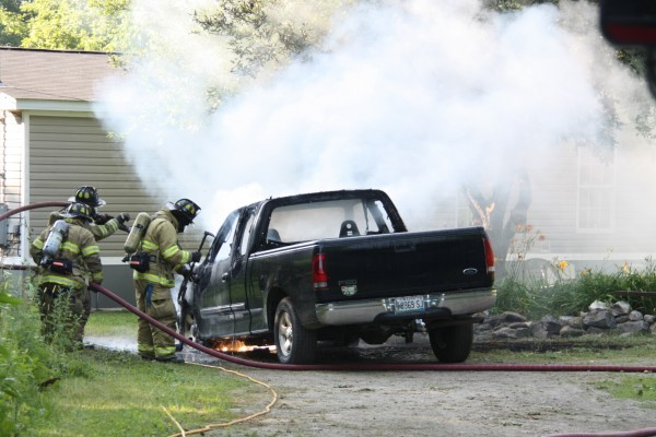 The Rockland Fire Department responded to a vehicle fire at 562 Old County Road shortly after 5 p.m. Friday.