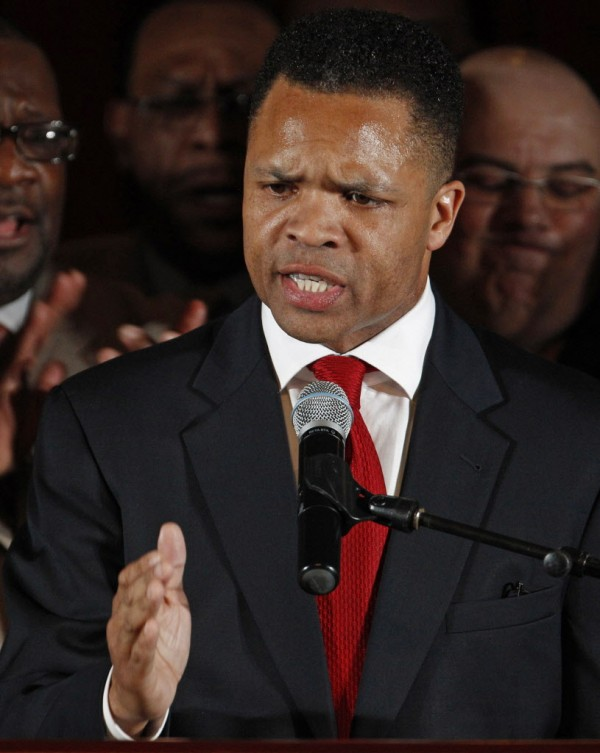 U.S. Rep. Jesse Jackson Jr., D-Ill., thanks supporters at his election night party in Chicago after his March Democratic primary in the Illinois' 2nd District.