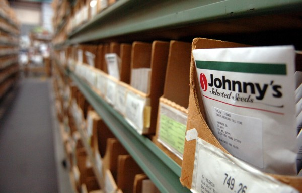 A packet of Valencia tomato seeds sits at Johnny's Selected Seeds' shipping room in 2009 in Winslow.