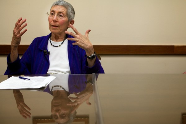 Theo Kalikow speaks with the press in Portland on Tuesday, July 10, 2012, her first day as the new president of the University of Southern Maine.