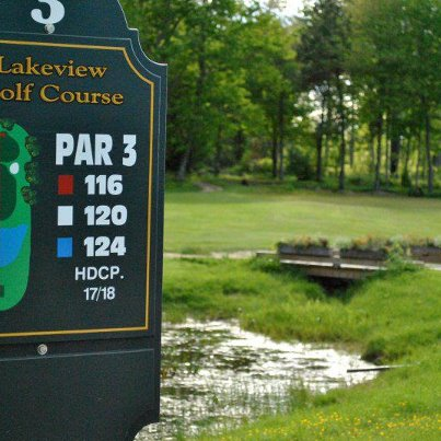 Golfers on the third tee at Lakeview Golf Course need to have their shots clear the frog pond to reach the green on the par-3 hole.