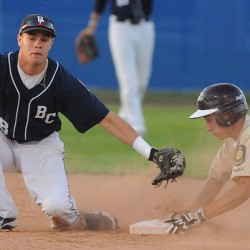 Jesse Provost carries Penquis by Calais in Legion baseball