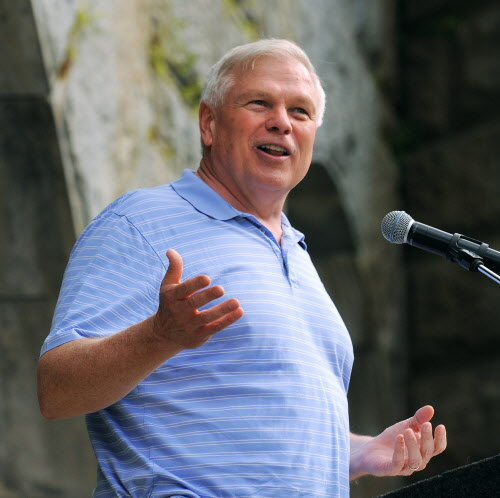 Boston-based conservative radio talk-show host Howie Carr speaks during the Economic Freedom Festival at Fort Knox in Prospect on Saturday afternoon, July 7, 2012.