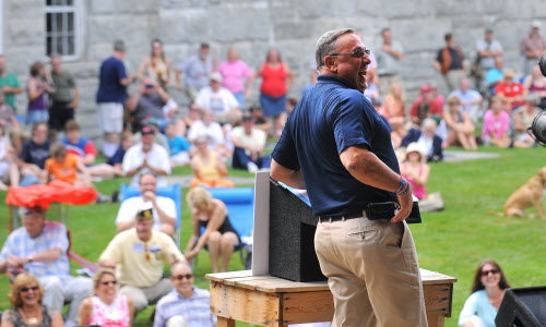 Gov. Paul LePage laughs during his speech during the Economic Freedom Festival at Fort Knox in Prospect on Saturday afternoon, July 7, 2012.