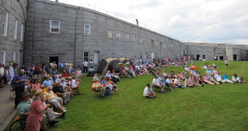 People listen to speeches during the Economic Freedom Festival at Fort Knox in Prospect on Saturday afternoon, July 7, 2012.