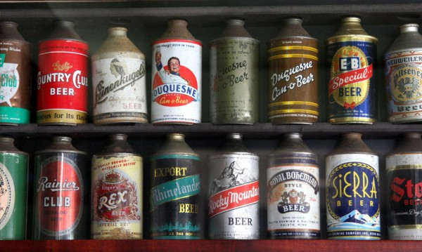 Cone-top beer cans, manufactured in the '30s and '40s, are part of David Goett's collection in Livermore, Calif., on Tuesday, July 3, 2012.