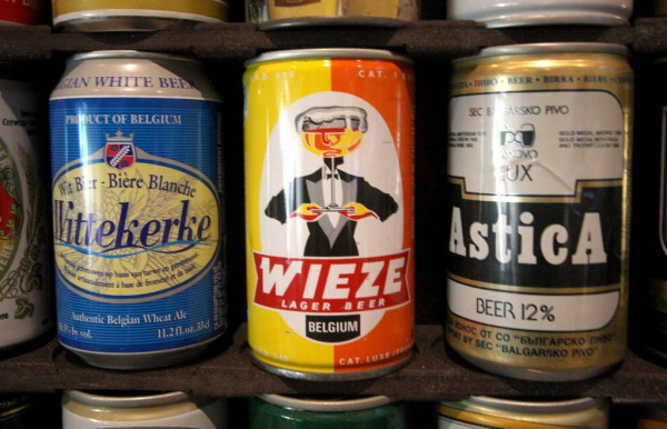 Colorful cans from Belgium, part of David Goett's collection, are shown in Livermore, Calif., on Tuesday, July 3, 2012.