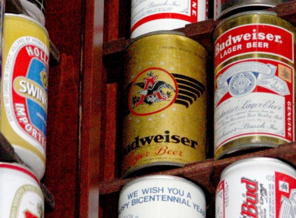 The gold-color can of Budweiser is from the first cans ever produced for that company in 1936. It's part of David Goett's collection in Livermore, Calif., on Tuesday, July 3, 2012.