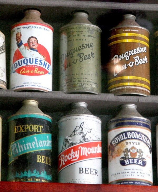 Cone-top beer cans, manufactured in the '30s and '40s, in David Goett's collection are shown in Livermore, Calif., on Tuesday, July 3, 2012.