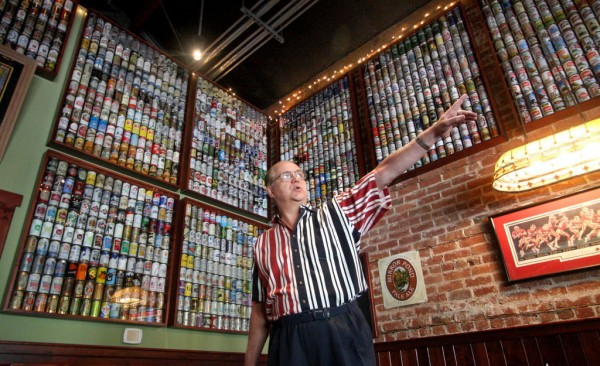David Goett of Livermore, Calif., talks about his beer can collection on Tuesday, July 3, 2012.