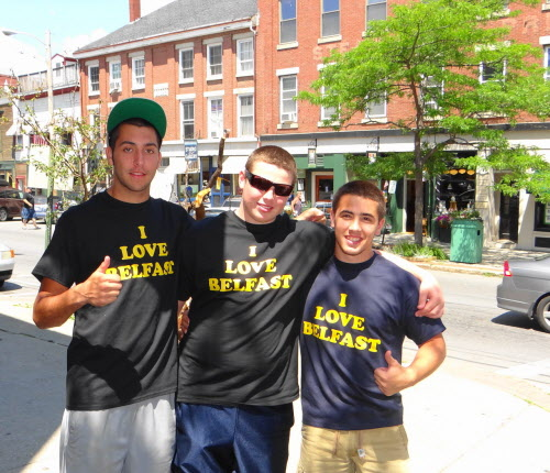 Zach Collier, Will Mossing and Mike McFadden (from left) sported their  &quotI Love Belfast&quot T-shirts near Alexia's Pizza on Monday, July 30, 2012.