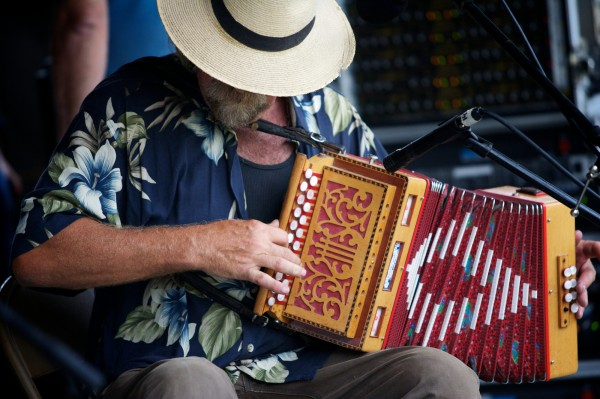 Jeff McKeen plays the button accordion with his band The Old Gray Goose at the 40th annual East Benton Fiddlers Convention Sunday, July 29, 29012.