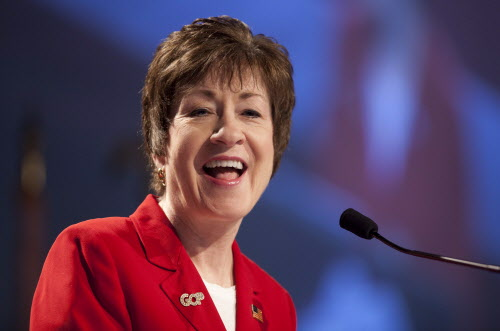Sen. Susan Collins, R-Maine, speaks at the Maine Republican convention in Augusta in May 2012.