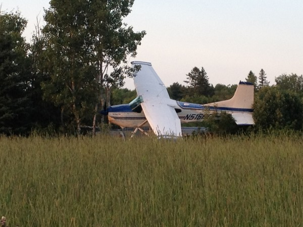 Pilot Patrick Driscoll of Ashland walked away from this crash Sunday evening in Mapleton when the single engine on his Cessna A185F failed. There was damage to a pontoon, fuselage, propeller and right wing