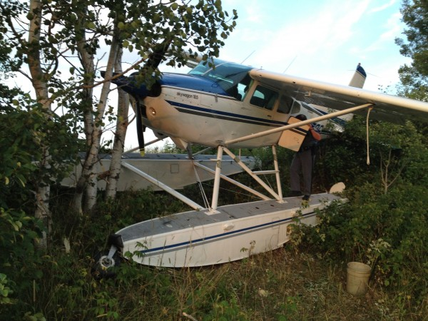 Pilot Patrick Driscoll of Ashland walked away from this crash Sunday evening in Mapleton when the single engine on his Cessna A185F failed. There was damage to a pontoon, fuselage, propeller and right wing.